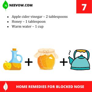 Apple cider vinegar – Home Remedies For Blocked Nose