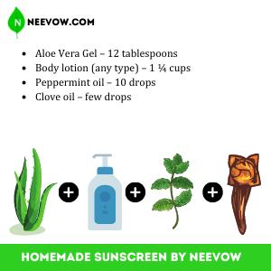 Homemade Sunscreen With Aloe Vera